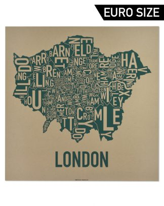 Greater London Borroughs Map, Tan & Green, 50cm x 50cm