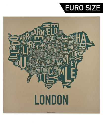 Greater London Borroughs Map, Tan & Green, 50cm x 50cm