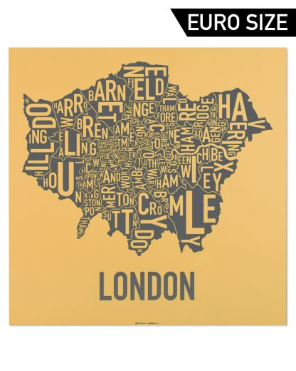 Greater London Borroughs Map, Mustard & Grey, 50cm x 50cm