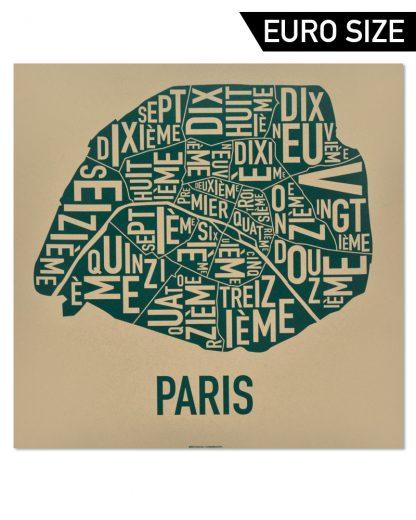 Paris Arrondissements Map, Brown & Green, 50cm x 50cm