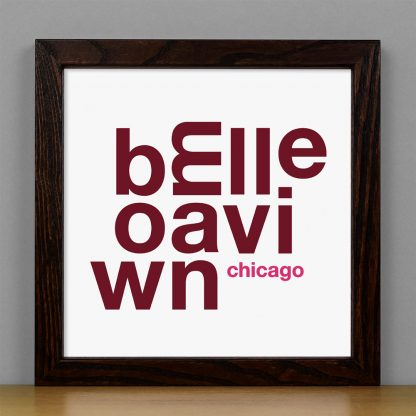 """Framed Bowmanville Chicago Fun With Type Mini Print, 8"""" x 8"""", White & Burgundy in Dark Wood Frame"""
