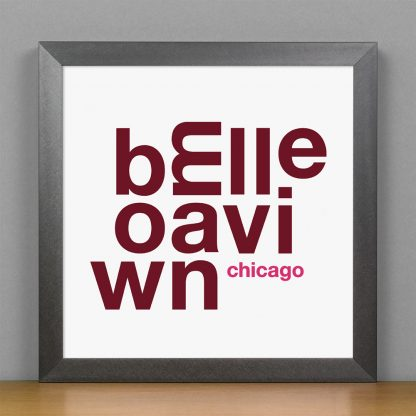 """Framed Bowmanville Chicago Fun With Type Mini Print, 8"""" x 8"""", White & Burgundy in Steel Grey Frame"""