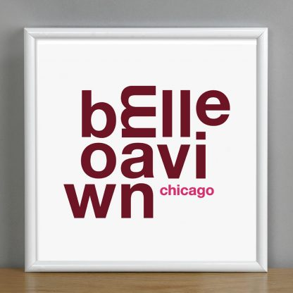 """Framed Bowmanville Chicago Fun With Type Mini Print, 8"""" x 8"""", White & Burgundy in White Metal Frame"""