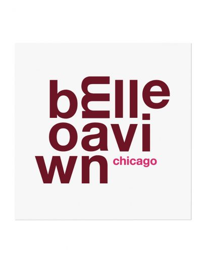 "Bowmanville Chicago Fun With Type Mini Print, 8"" x 8"", White & Burgundy"