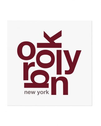 "Brooklyn Typography Fun With Type Mini Print, 8"" x 8"", White & Maroon"