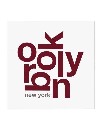 """Brooklyn Typography Fun With Type Mini Print, 8"""" x 8"""", White & Maroon"""