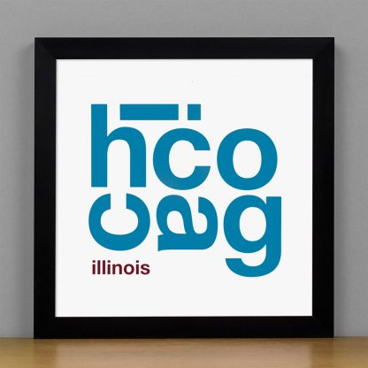 """Framed Chicago Fun With Type Mini Print, 8"""" x 8"""", White & Blue in Black Metal Frame"""