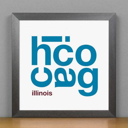 """Framed Chicago Fun With Type Mini Print, 8"""" x 8"""", White & Blue in Steel Grey Frame"""