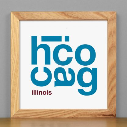 """Framed Chicago Fun With Type Mini Print, 8"""" x 8"""", White & Blue in Light Wood Frame"""