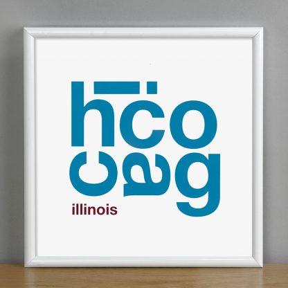 "Framed Chicago Fun With Type Mini Print, 8"" x 8"", White & Blue in White Metal Frame"