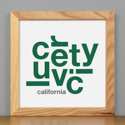 "Framed Culver City Fun With Type Mini Print, 8"" x 8"", White & Green in Light Wood Frame"