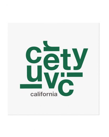 "Culver City Fun With Type Mini Print, 8"" x 8"", White & Green"