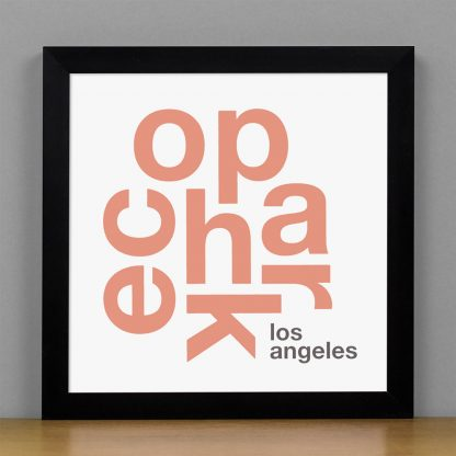 """Framed Echo Park Fun With Type Mini Print, 8"""" x 8"""", White & Coral in Black Metal Frame"""