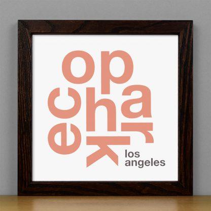 "Framed Echo Park Fun With Type Mini Print, 8"" x 8"", White & Coral in Dark Wood Frame"