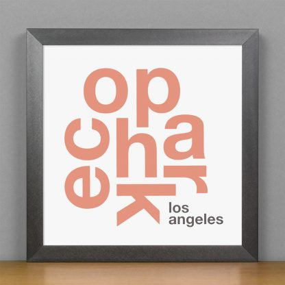 """Framed Echo Park Fun With Type Mini Print, 8"""" x 8"""", White & Coral in Steel Grey Frame"""