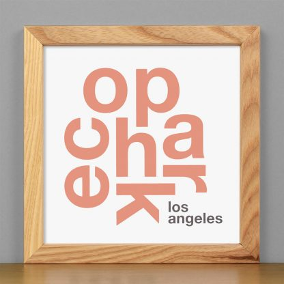 """Framed Echo Park Fun With Type Mini Print, 8"""" x 8"""", White & Coral in Light Wood Frame"""