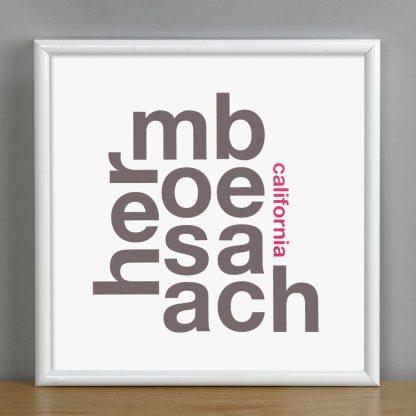 """Framed Hermosa Beach Fun With Type Mini Print, 8"""" x 8"""", White & Grey in White Metal Frame"""