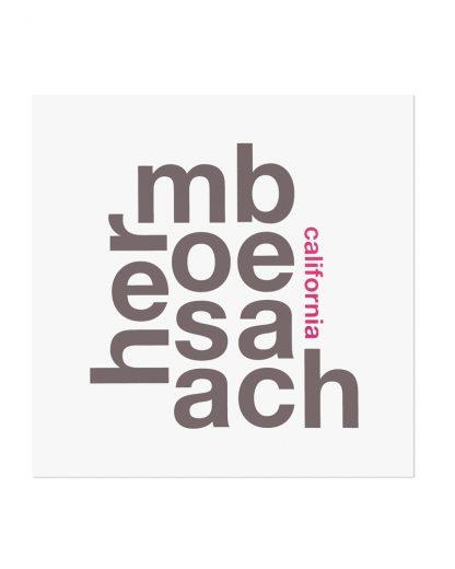 """Hermosa Beach Fun With Type Mini Print, 8"""" x 8"""", White & Grey"""