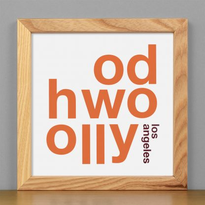 "Framed Hollywood Fun With Type Mini Print, 8"" x 8"", White & Orange in Light Wood Frame"