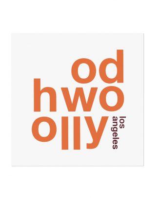"""Hollywood Fun With Type Mini Print, 8"""" x 8"""", White & Orange"""