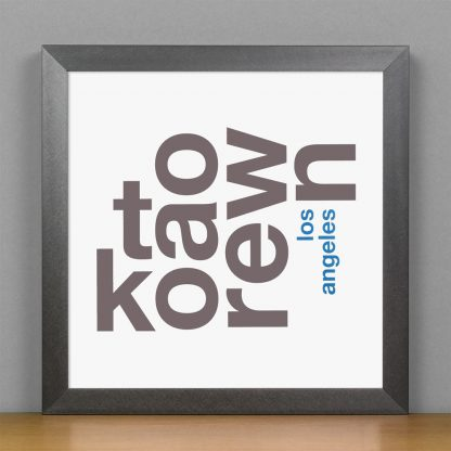 "Framed Koreatown Fun With Type Mini Print, 8"" x 8"", White & Grey in Steel Grey Frame"