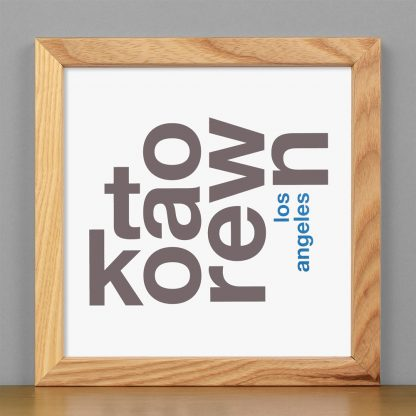 "Framed Koreatown Fun With Type Mini Print, 8"" x 8"", White & Grey in Light Wood Frame"