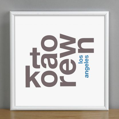 "Framed Koreatown Fun With Type Mini Print, 8"" x 8"", White & Grey in White Metal Frame"