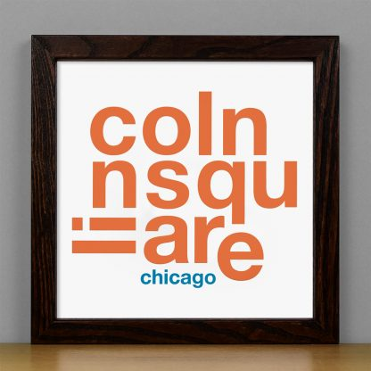 "Framed Lincoln Square Fun With Type Mini Print, 8"" x 8"", White & Orange in Dark Wood Frame"