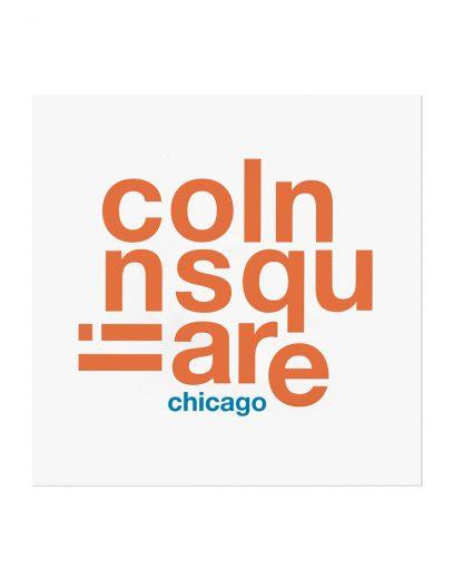 "Lincoln Square Fun With Type Mini Print, 8"" x 8"", White & Orange"