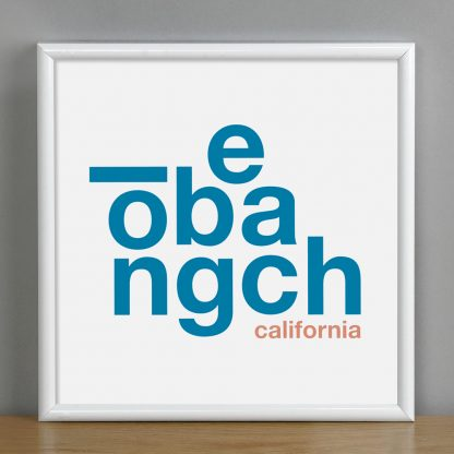 "Framed Long Beach Fun With Type Mini Print, 8"" x 8"", White & Blue in White Metal Frame"