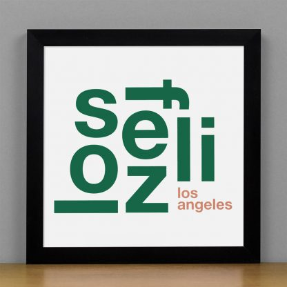 "Framed Los Feliz Fun With Type Mini Print, 8"" x 8"", White & Green in Black Metal Frame"