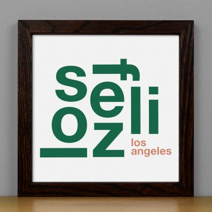 "Framed Los Feliz Fun With Type Mini Print, 8"" x 8"", White & Green in Dark Wood Frame"