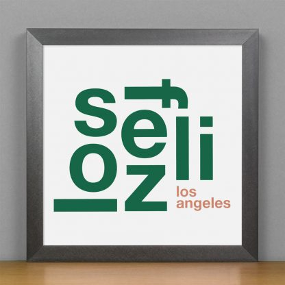"Framed Los Feliz Fun With Type Mini Print, 8"" x 8"", White & Green in Steel Grey Frame"