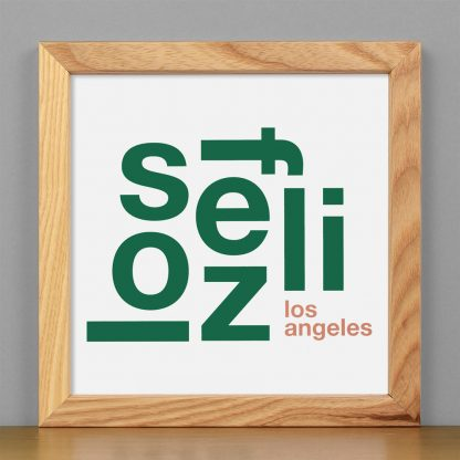 "Framed Los Feliz Fun With Type Mini Print, 8"" x 8"", White & Green in Light Wood Frame"