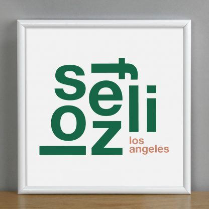 "Framed Los Feliz Fun With Type Mini Print, 8"" x 8"", White & Green in White Metal Frame"