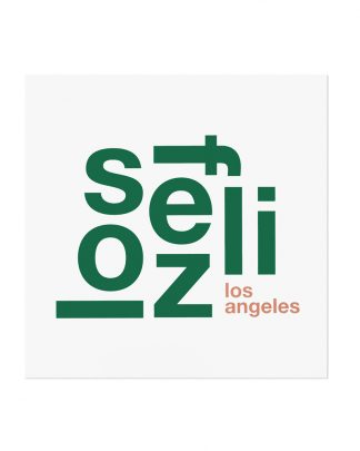 "Los Feliz Fun With Type Mini Print, 8"" x 8"", White & Green"