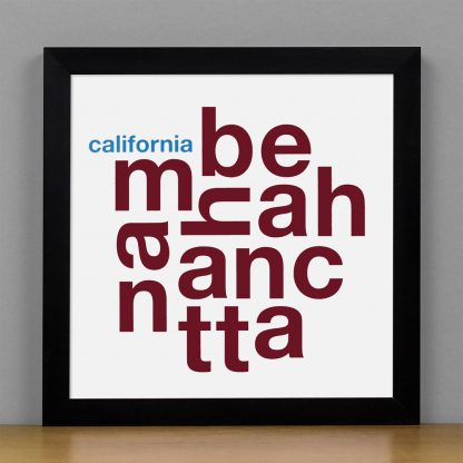 "Framed Manhattan Beach Fun With Type Mini Print, 8"" x 8"", White & Maroon in Black Metal Frame"