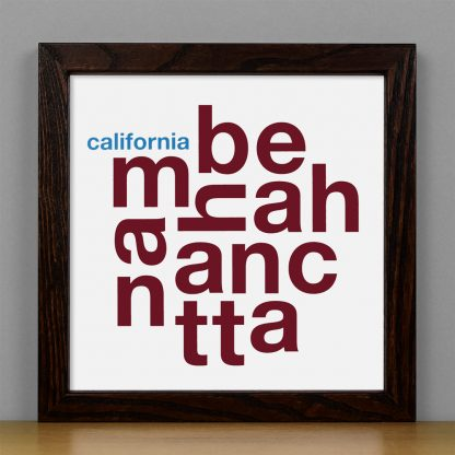 "Framed Manhattan Beach Fun With Type Mini Print, 8"" x 8"", White & Maroon in Dark Wood Frame"