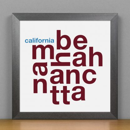"Framed Manhattan Beach Fun With Type Mini Print, 8"" x 8"", White & Maroon in Steel Grey Frame"
