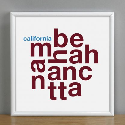 "Framed Manhattan Beach Fun With Type Mini Print, 8"" x 8"", White & Maroon in White Metal Frame"