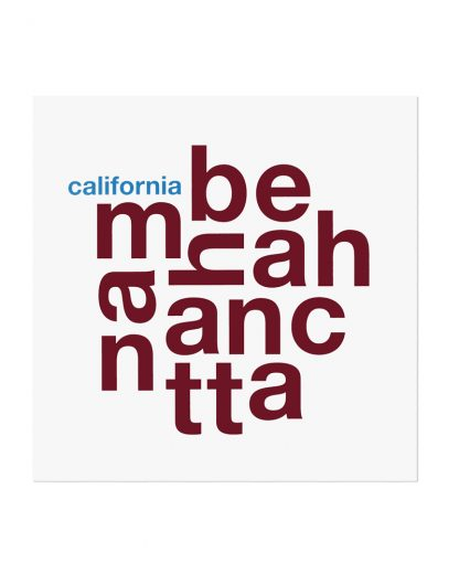 "Manhattan Beach Fun With Type Mini Print, 8"" x 8"", White & Maroon"