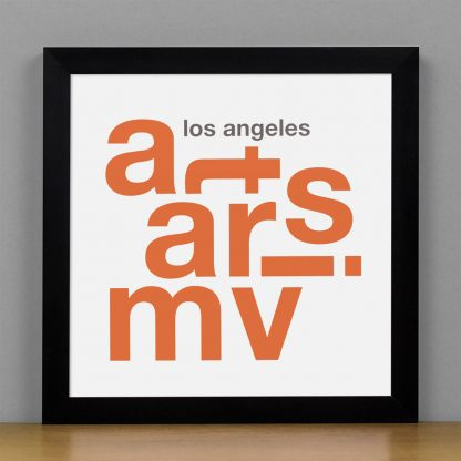 "Framed Mar Vista Fun With Type Mini Print, 8"" x 8"", White & Orange in Black Metal Frame"