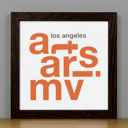 "Framed Mar Vista Fun With Type Mini Print, 8"" x 8"", White & Orange in Dark Wood Frame"