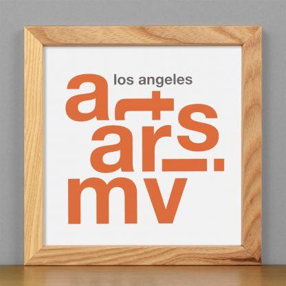 "Framed Mar Vista Fun With Type Mini Print, 8"" x 8"", White & Orange in Light Wood Frame"
