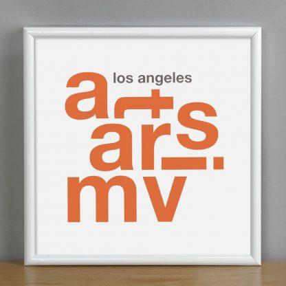 """Framed Mar Vista Fun With Type Mini Print, 8"""" x 8"""", White & Orange in White Metal Frame"""