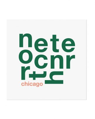 "North Center Chicago Fun With Type Mini Print, 8"" x 8"", White & Green"
