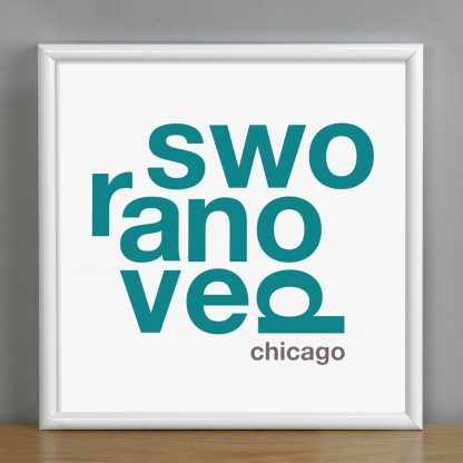 "Framed Ravenswood Fun With Type Mini Print, 8"" x 8"", White & Teal in White Metal Frame"
