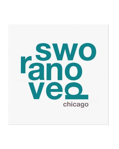 """Ravenswood Fun With Type Mini Print, 8"""" x 8"""", White & Teal"""