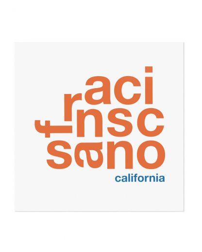 """San Francisco Fun With Type Mini Print, 8"""" x 8"""", White & Orange"""