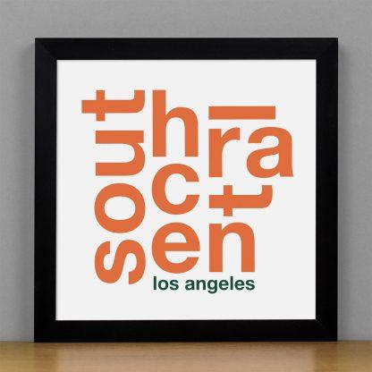 "Framed South Central Fun With Type Mini Print, 8"" x 8"", White & Orange in Black Metal Frame"